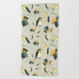 Flying Birdhouse (Pattern) Beach Towel