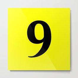 9 (BLACK & YELLOW NUMBERS) Metal Print