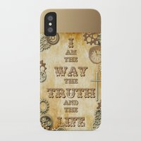 bible verses iPhone & iPod Cases featuring Bible Verse Steampunk Way Truth Life by Whimsy and Nonsense