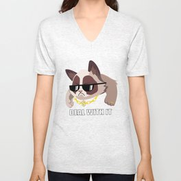 Grumpy deal with it Unisex V-Neck