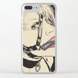 Pet slave games, horse gag girl, sexy blonde woman in BDSM, fetish erotic, kinky adult artwork Clear iPhone Case