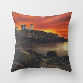 Maine Lighthouse Sunrise Throw Pillow