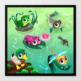 Funny animals in the pond Canvas Print