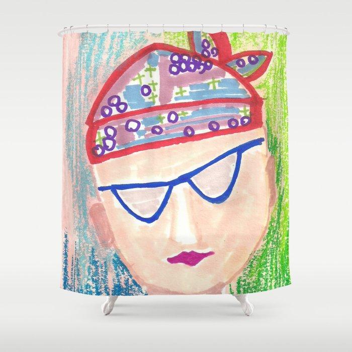 Crazy Face Red Bandana Shower Curtain