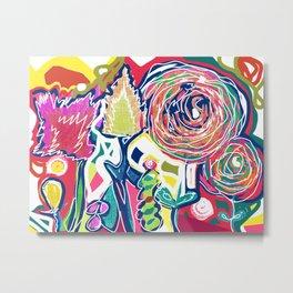 Flower power floral art - original mixed meda art with flowers - bright art Metal Print