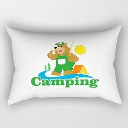 Cartoon Brown Bear camping Rectangular Pillow