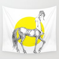 headphones Wall Tapestries featuring Young centaur with headphones and mp3 player by Francesco Carli