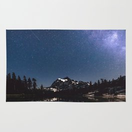 Summer Stars - Galaxy Mountain Reflection - Nature Photography Rug