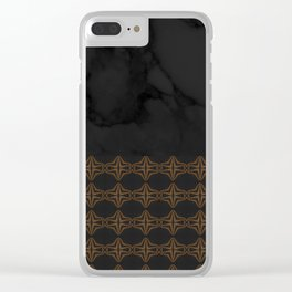 Black Marble with Bronze DecalPattern Clear iPhone Case