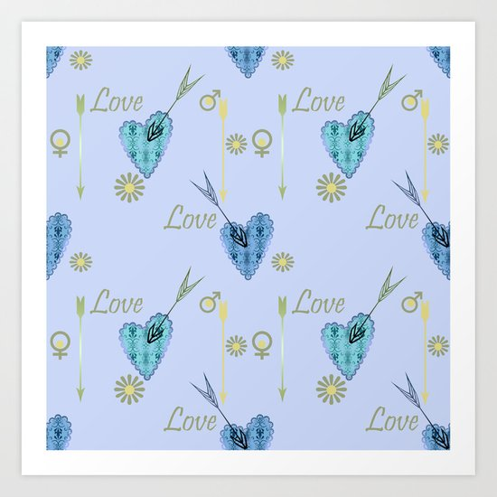 Love . The filigree heart . Blue background . Art Print