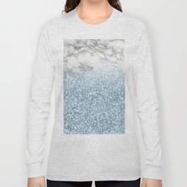 She Sparkles - Turquoise Teal Glitter Marble Long Sleeve T-shirt
