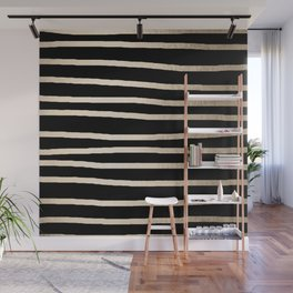 Simply Drawn Stripes White Gold Sands on Midnight Black Wall Mural