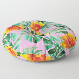 Tropical Monstera Bloom Floor Pillow