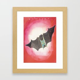 Acrobat Black Bat in Diamond Circus Watercolor Framed Art Print
