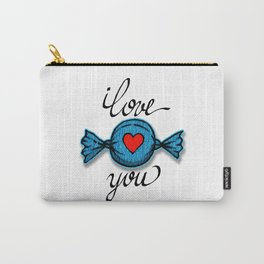 I love you (blue) Carry-All Pouch