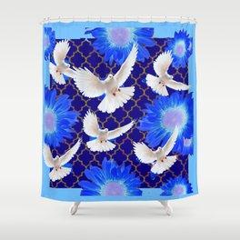 White Flying Birds Blue Flowers Pattern Art Shower Curtain