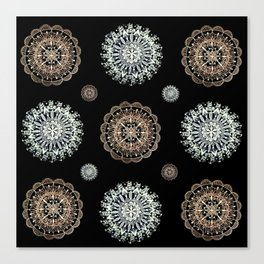 Rose Gold and Silver Mandala Textile on Black Canvas Print