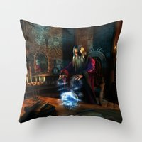 wizard Throw Pillows featuring Wizard by Digital Dreams