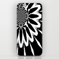 blankets iPhone & iPod Skins featuring Black & White Modern Flower by 2sweet4words Designs