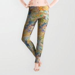Autumn Colored Sea Glass Illustration Leggings