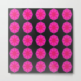 Hot Magenta Lotus Flower Pattern Metal Print
