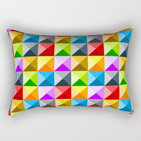 Colorful quarter square triangle pattern Rectangular Pillow