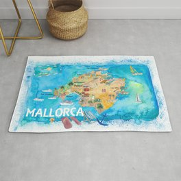 Mallorca Spain Illustrated Map with Landmarks and Highlights Rug