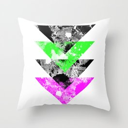 Descent - Geometric Abstract In Black, Green And Pink Throw Pillow