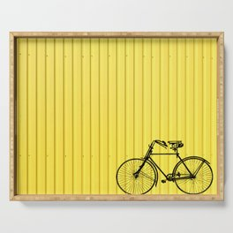 Vintage bike on yellow Serving Tray