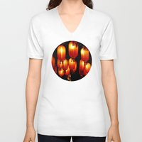 lanterns V-neck T-shirts featuring chinese paper lanterns by kanpai