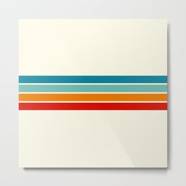 Colored Retro Stripes Metal Print