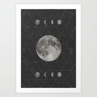 moon phase Art Prints featuring Geometric Moon Phase (black) by Moonbeam