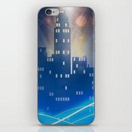 Neon city skyline by night metallic look print iPhone Skin