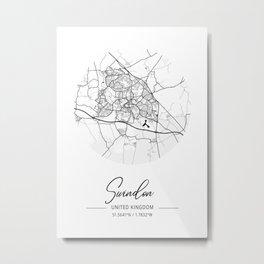 Swindon Area City Map, Swindon Circle City Maps Print, Swindon Black Water City Maps Metal Print