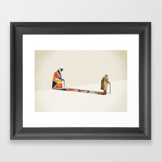 Walking Shadow, Old Man Framed Art Print