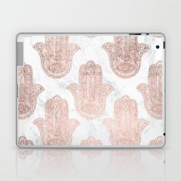 Modern rose gold floral lace hamsa hands white marble illustration pattern Laptop & iPad Skin