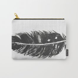 Black feather painting - abstract black feather Carry-All Pouch