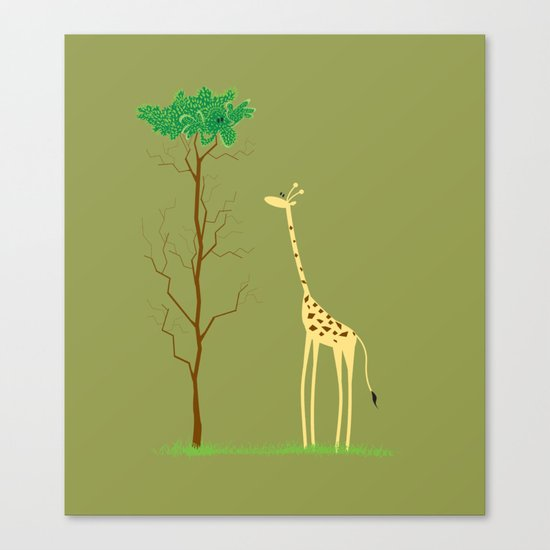 tree v giraffe Canvas Print