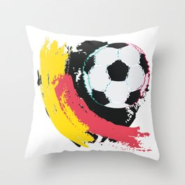 Football ball and red, yellow strokes Throw Pillow