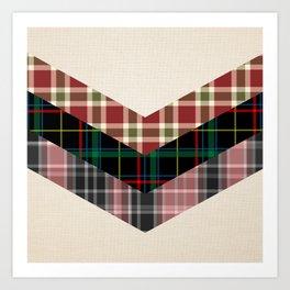 Ivory black pink marsala red geometrical chevron plaid pattern Art Print