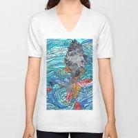 black swan V-neck T-shirts featuring Black Swan by Juliana Kroscen
