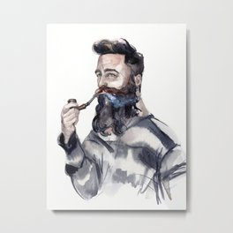 Brutal man sailor smoking a pipe Metal Print