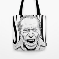 bukowski Tote Bags featuring mr bukowski by Darby Krow