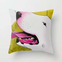 bull terrier Throw Pillows featuring Bull Terrier by Erin Shea