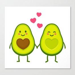 Cute avocados in love Canvas Print