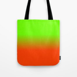 Neon Green and Neon Orange Ombré  Shade Color Fade Tote Bag