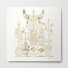 Santa Fe Garden – Gold Ink Metal Print