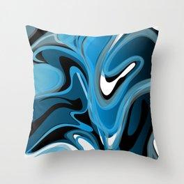 Liquify in Denim, Navy Blue, Black, White Throw Pillow