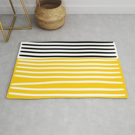 Cute yellow pattern with stripes Rug