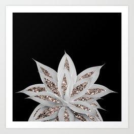 Gray Agave with Rose Gold Glitter #2 #shiny #tropical #decor #art #society6 Art Print